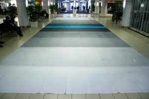 J' m' en suis deja souvenu (2012)Seripop covered a 17' x 55' path of floor at Complexe Guy-Favreau, Montreal, PQ, with a double sided screen print.
