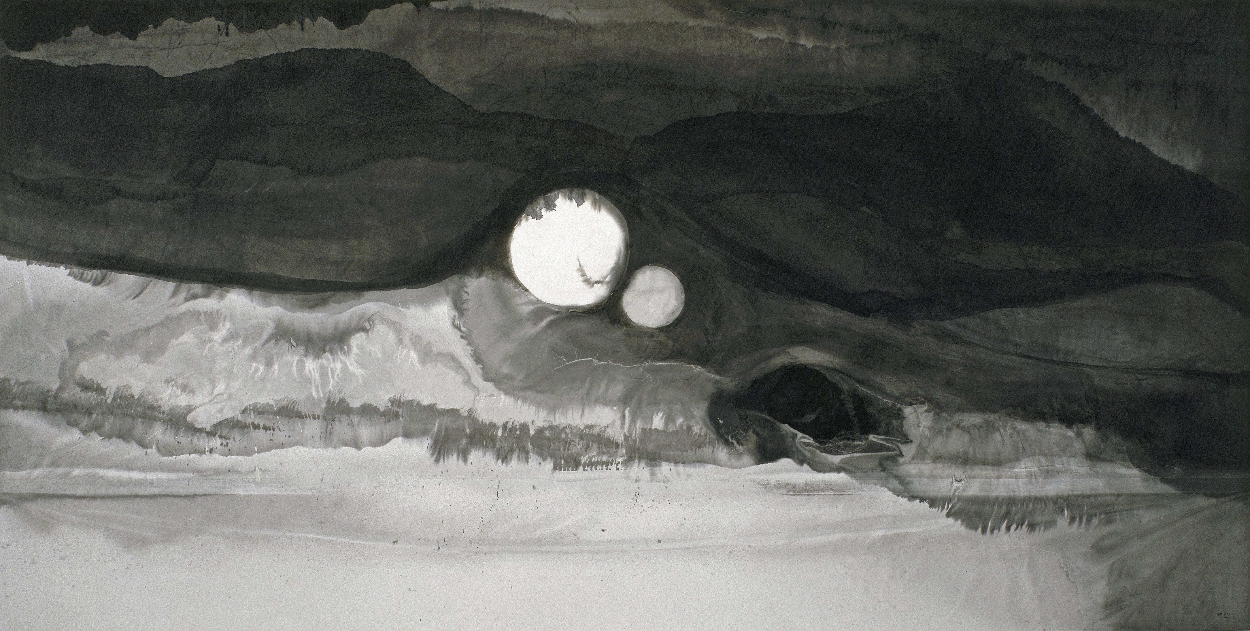 """Gao Xingjian, """"Eclipse"""" (184cm x 369cm), 1999: Ink on Paper"""