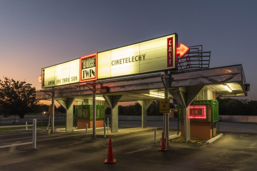 Cinetelechy screening at the Admiral Twin Drive-in Theatre in Tulsa, Oklahoma
